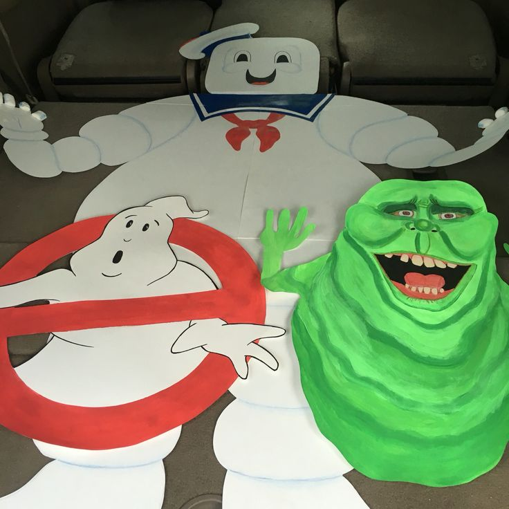 I made these ghostbusters characters for my nephews bday party. Hand Drew and painted with acrylic paint on the rough side of white poster board. Cut them out with an razor blade.