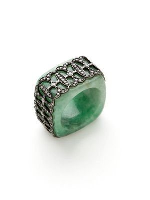 Bochic Diamond & Green Jade Square Band Ring