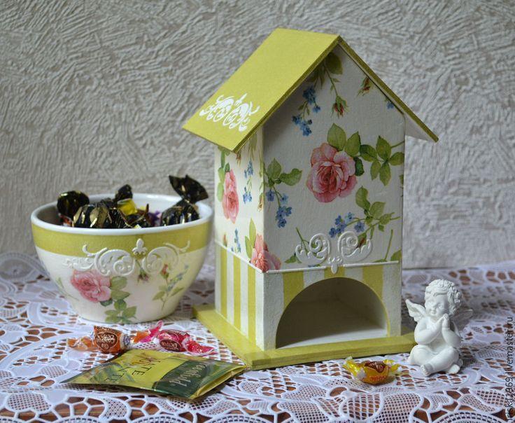 """Купить Чайный домик """"Розовый сад"""" - салатовый, чайный домик, Декупаж, кухня, подарок, фанера"""