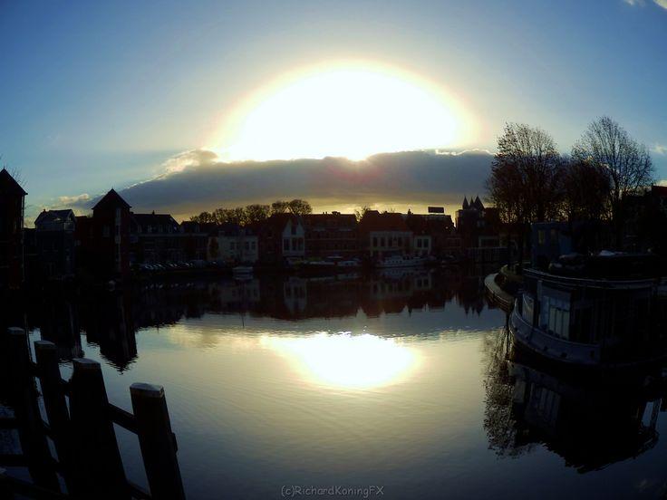 Daybreak at De Spaarne in Haarlem NL