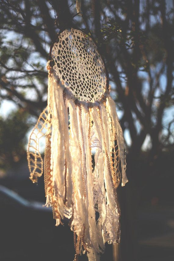 Dreamy Rustic Boho Crochet Doily Dreamcatcher. Natural earthy shabby-chic lace decoration for Gypsy home, nursury or wedding