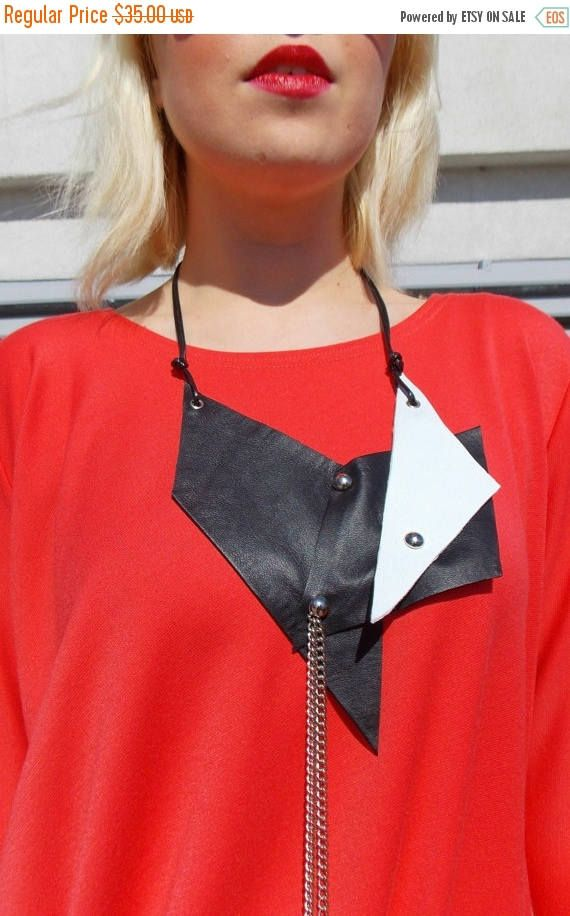 Natural leather necklace made of black and white bands of geniune leather. Material: 100% Natural Leather