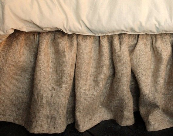 Burlap Bed Skirt Queen and King by PaulaAndErika on Etsy, $120.00