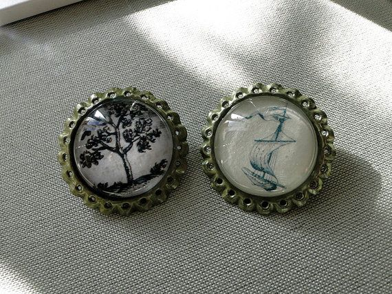 Tappins brooch-original illustration tree and handmade boat with glass cabochons