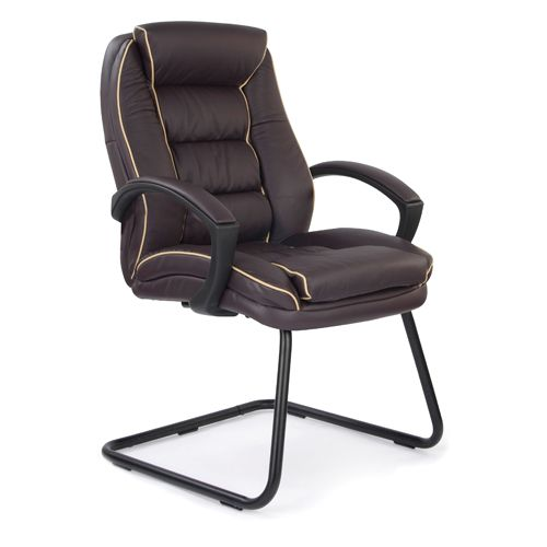 Chester Burgundy Leather Cantilever Chair With Cream Piping