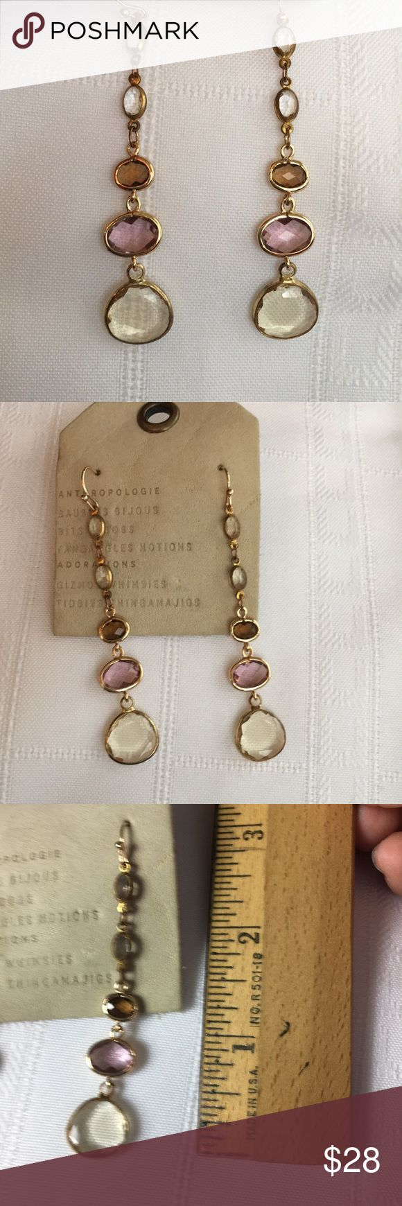 Anthropologie Golden Faceted Crystal Earrings Store overstock; New with tags; Graduated faceted crystal earrings Anthropologie Jewelry Earrings