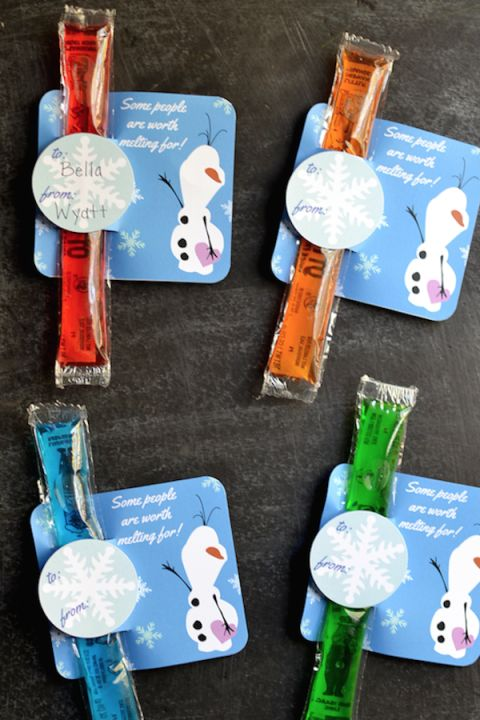 Valentine's Day Cards for Kids - Valentine Cards - Frozen Olaf Valentines - Disney fans will instantly turn into a puddle of happiness over these cute cards inspired by everyone's favorite dorky snowman. Click through redbookmag.com for more Valentine's Day cards that are anything but average.