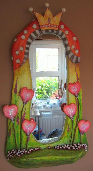 Agee - mixed media - old mirror with wooden frame, cardboard, paper mache, branches, stones, split peas, silver yarn, glitters, acryllic paint - Picasa Webalbums