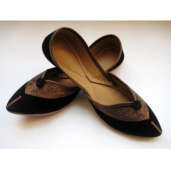 Black Flats/Ethnic Shoes/Velvet Shoes/Copper by FootSoles on Etsy
