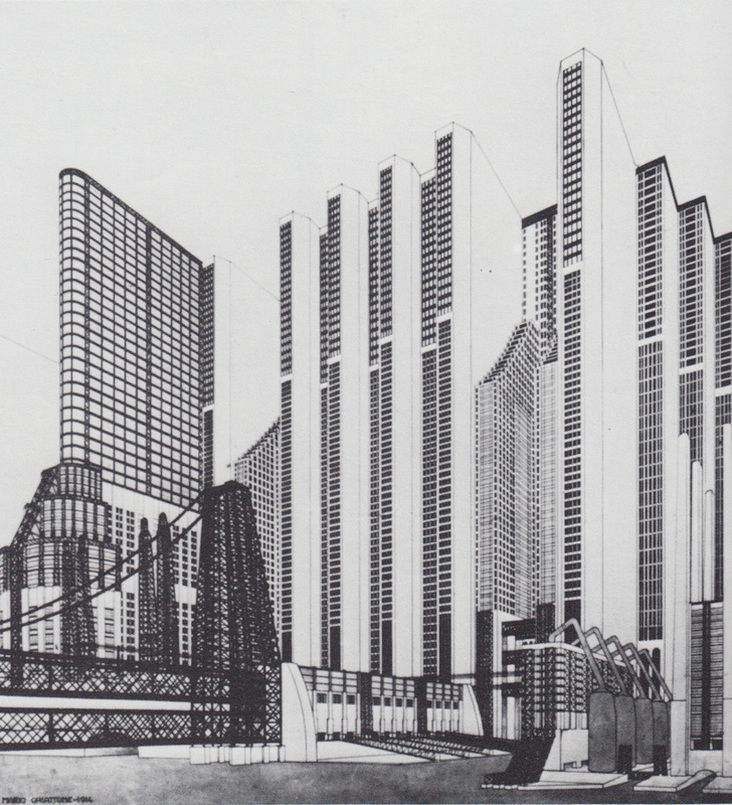 Mario Chiattone | Costruzioni per una Metropoli Moderna | Italian Futurism | 1914