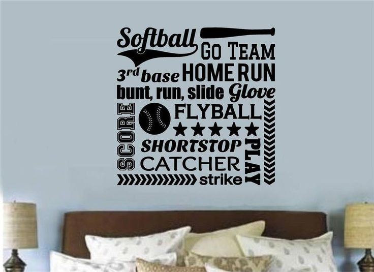 Details About Softball Vinyl Decal Wall Stickers Words Letters Sports Teen Room  Decor