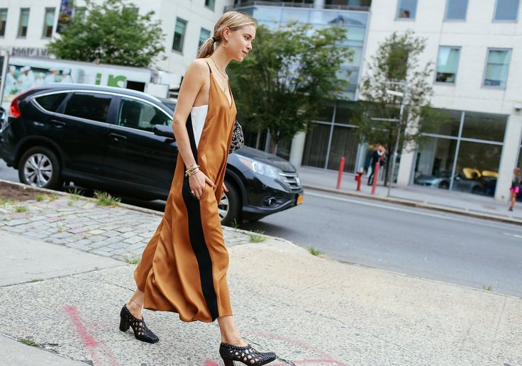 Pernille Teisbaek in a Céline dress and shoes: