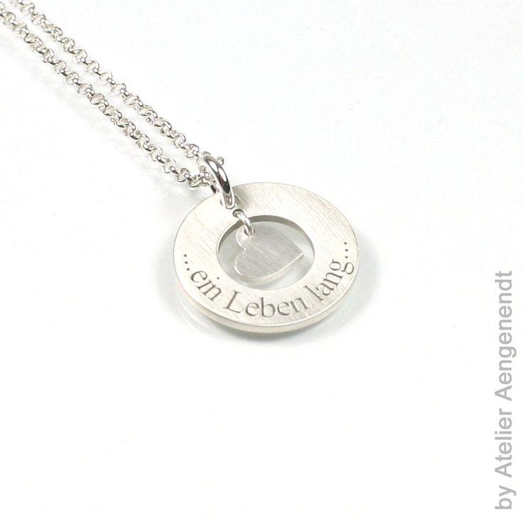 Anhänger aus 925 Silber mittig Herz rund Name Kette mit Ihrer Gravur NEU PS54KE2