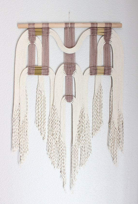 "Macrame Wall Hanging ""plm + wht #2"" by HIMO ART, One of a kind Handcrafted Macrame, rope art"