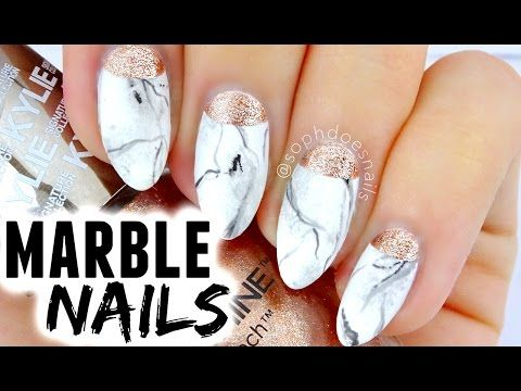 MARBLE & ROSE GOLD NAIL TUTORIAL | sophdoesnails - YouTube