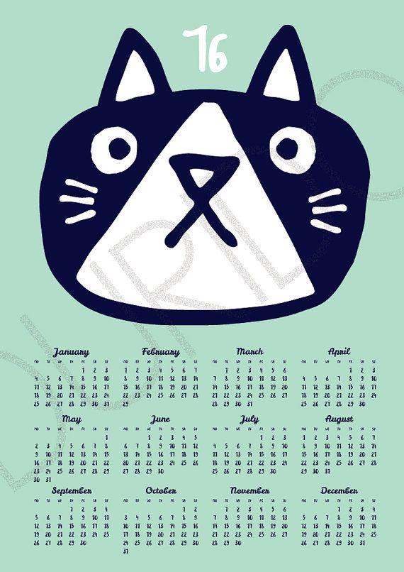 Wall calendar 2016 CAT mint A3 A3 size / kids room by DURIDO