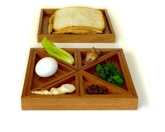 Tangram Passover Seder plate modern Seder plate and Matzah tray design Playful Judaica geometric style
