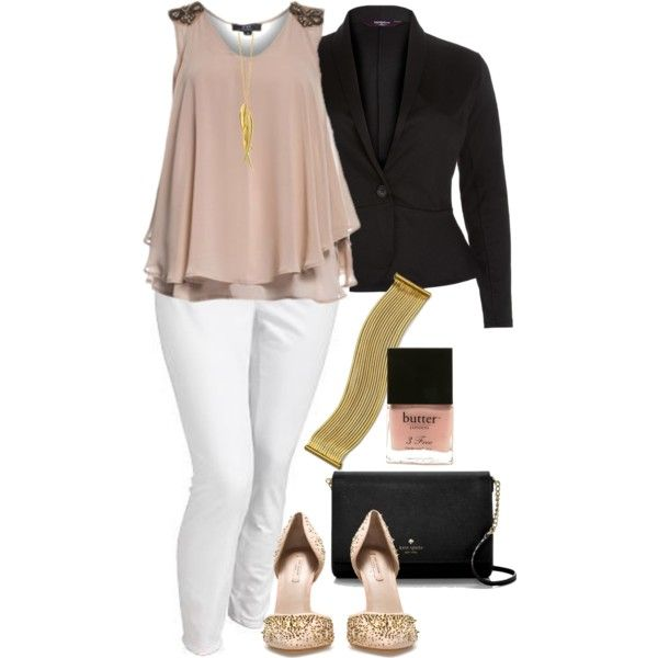 #plus #size #outfit Black, White and Nude - Plus Size