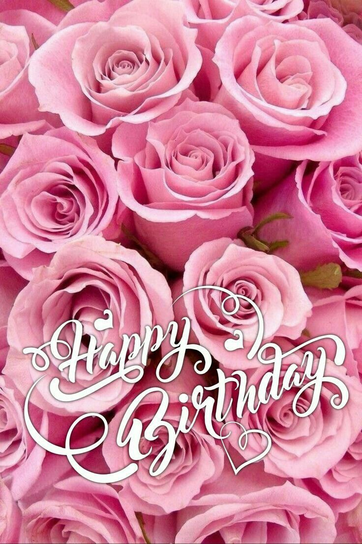 Happy Birthday with pink roses in 2020 Happy birthday