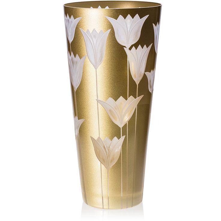 CONE VASE | Handmade Glass Blown Cone Vase, Tulipa-Gold 6090, height: 290 mm | top diameter: 140 mm | Bohemian Crystal | Crystal Glass | Luxurious Glass | Hand Engraved | Original Gift for Everyone | clarescoglass.com