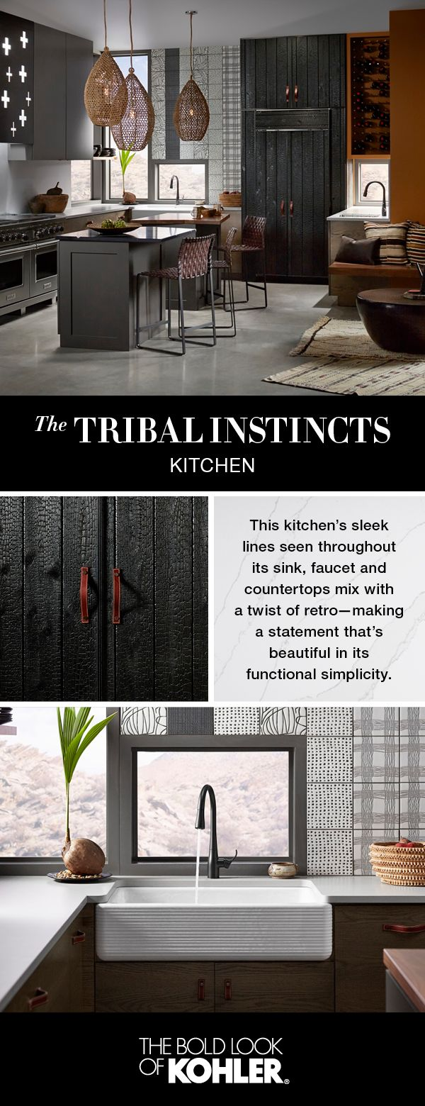 Explore a kitchen where tribal motifs, primitive patterns and a symbiotic connection to the natural world is woven and shaped through design.
