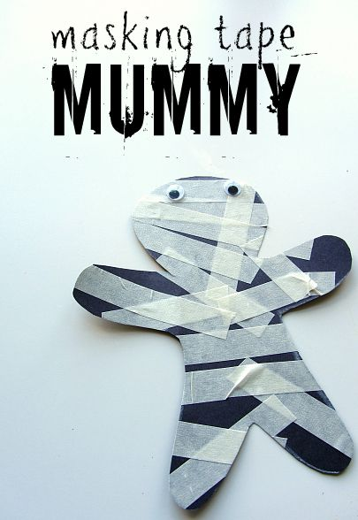 masking tape mummy toddler craft
