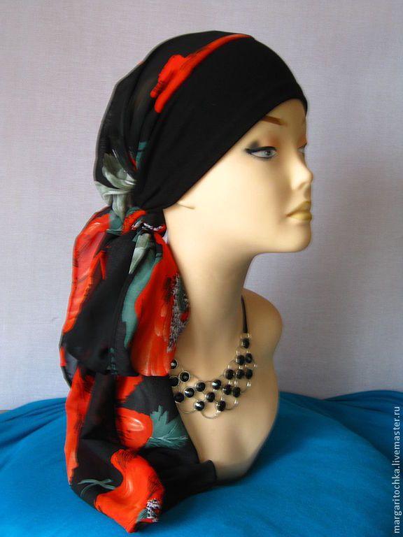 """Купить """"Круиз - 09 головной убор трансформер цыганский - цветочный, чалма, тюрбан, черный с красным"""