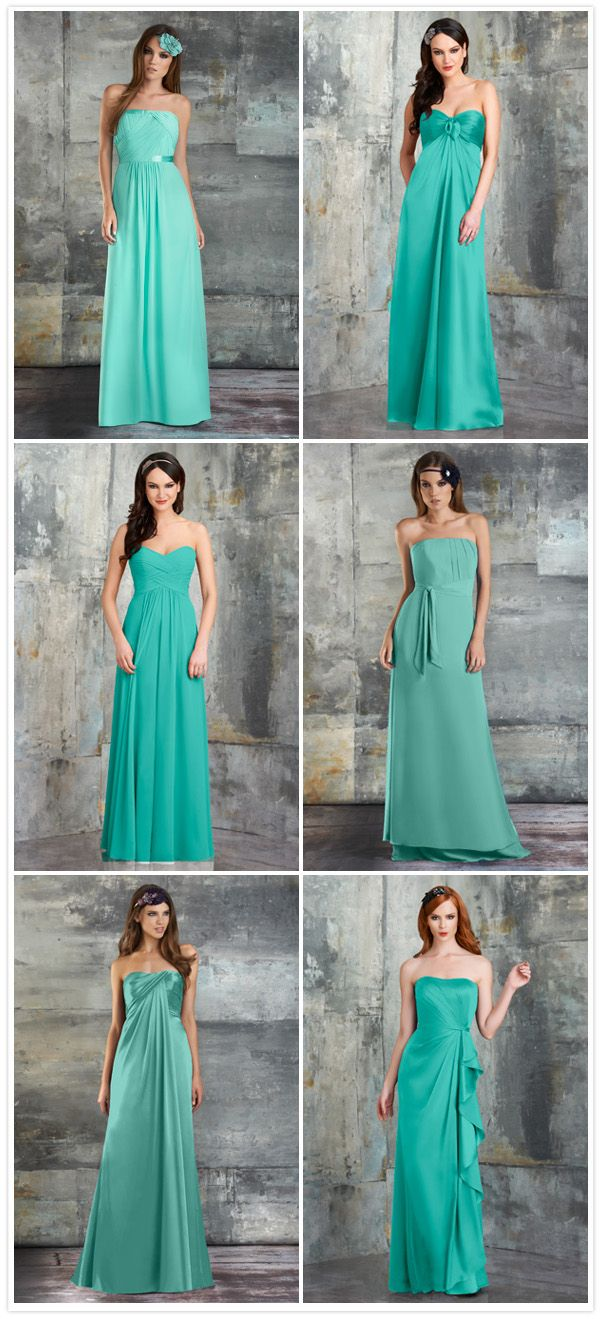 6 turquoise bridesmaid dresses from Bari Jay that work perfectly together for the 'mismatched' look! #somethingturquoise