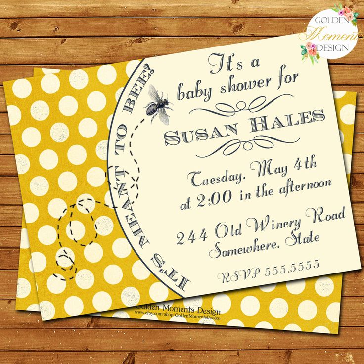 Baby Shower Invitation, Meant to Bee Invitation, Bumble Bee, Gender Reveal, Printable, Customized by GoldenMomentsDesign on Etsy https://www.etsy.com/listing/107036463/baby-shower-invitation-meant-to-bee