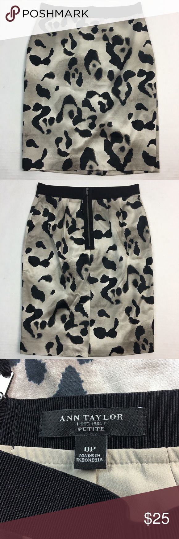 "Ann Taylor Petite Skirt Size 0P Brand:  Ann Taylor Petite Size:  0P Condition: Gently Worn - No Flaws Material:  Shell - 60% Cotton, 35% Silk, 5% Spandex; Lining - 96% Polyester, 4% Spandex Waist: 26"" (13 x 2) Length: 20.5"" Care:   Dry Clean Recommended Extra Information:   Back Zipper; Slit back Ann Taylor Skirts Pencil"