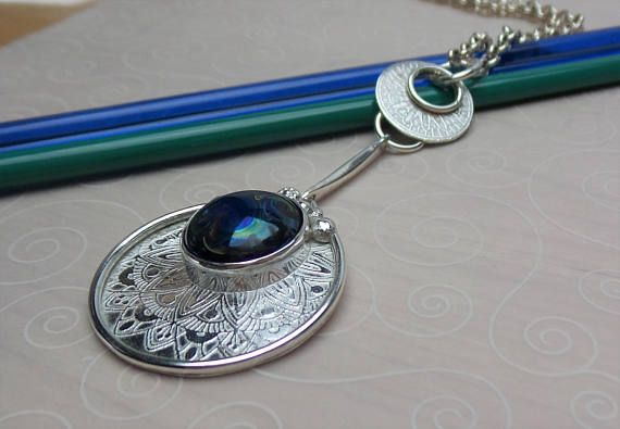 Unique handmade dangle necklase in etched sterling silver with