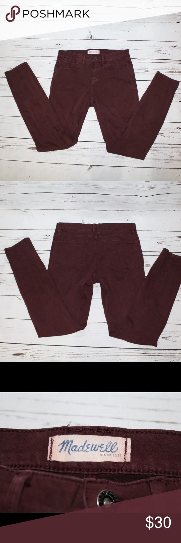 Madewell 27x28 Maroon Skinny Jeans Madewell 27x28 Maroon Skinny Jeans. Maroon color, reddish brown. Size 27. 28 inch inseam. Can be worn as regular pants for someone who is petite, or as crops for someone who wears tall sizes. These are in good used condition. Minor fading, though fairly even fading. They are well worn in, making them SUPER soft and comfortable. Madewell Jeans