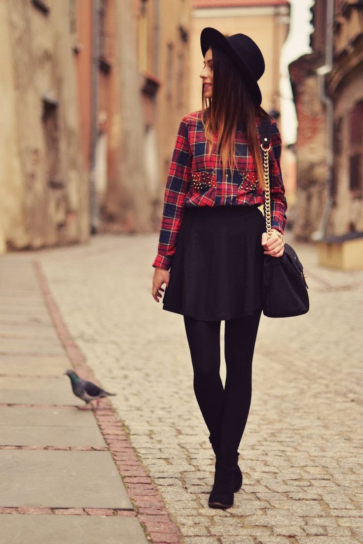 I love this! I would probably skip the hat and wear a dark blue or white skirt instead to bring out the plaid shirt :)