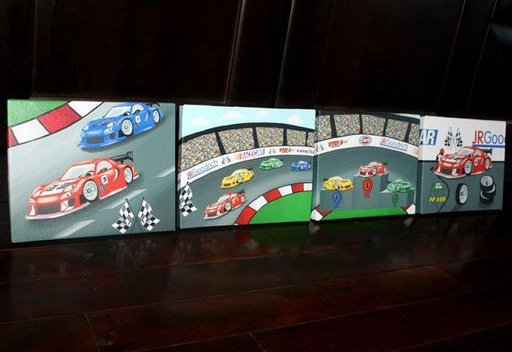 Set of 4 Race Car Boys Racing Bedroom 8x10 by ToadAndLily on Etsy, $80.00