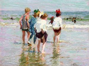 Edward Potthast (1857-1927), Kαλοκαιρινή ημέρα. Παραλία του Μπράιτον. Ιδιωτική Συλλογή.