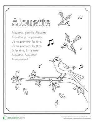 First Grade Animals Music Nature Worksheets: Alouette Song