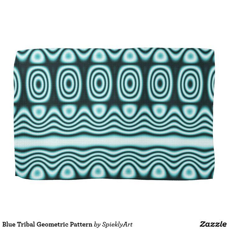 Blue Tribal Geometric Pattern tea towel kitchen decorations #blue #kitchentowel #towels