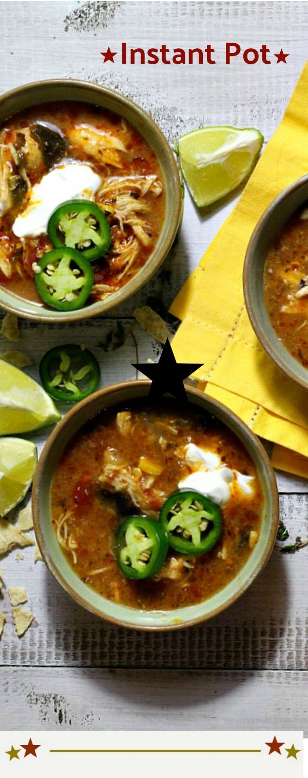 Instant Pot easy Creamy Chicken Tortilla Soup. A hearty spicy tomato based chicken soup topped tortilla chips and sour cream.A delicious quick easy dinner that you can throw together in a jiff. #instantpot #chicken #soup #pressurecooker via @lannisam
