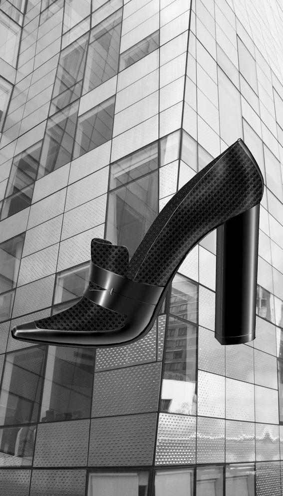 Airmesh and calfskin  tick heel loafer Liminale Nowhere design