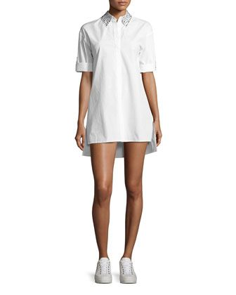 Camron+Embellished-Collar+Tunic+Shirtdress,+White+by+Alice+++Olivia+at+Neiman+Marcus.