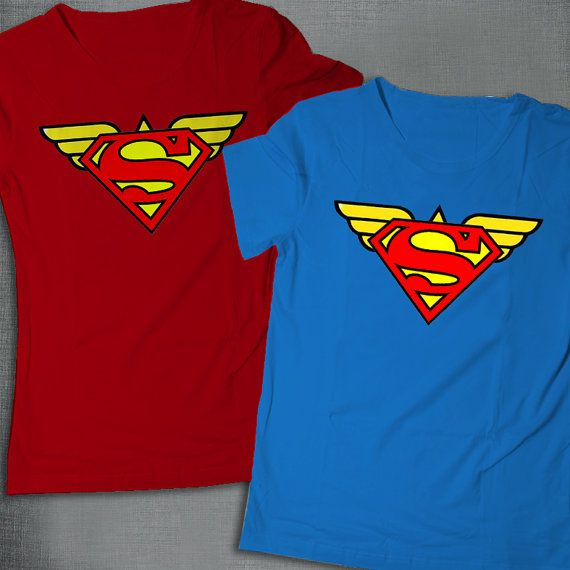Wonder Woman and superman inspired couple shirts, birthday t-shirts, superhero family shirts, her superman and his wonder woman