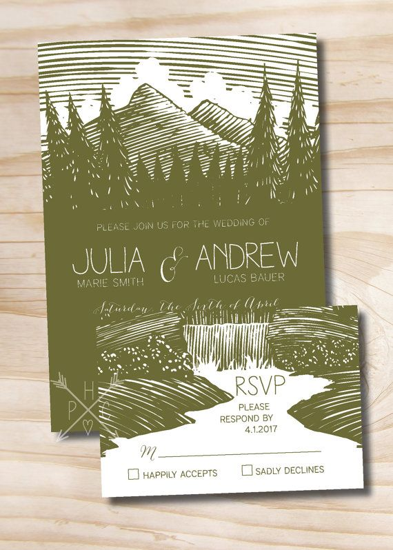 Woodcut Mountain Rustic Wedding Invitation/Response Card - 100 Professionally Printed Invitations & Response Cards