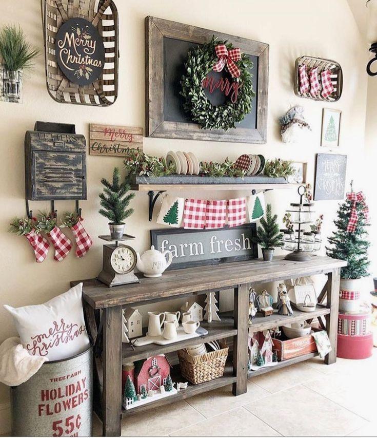 Christmas Stockings On Wall Hooks End Of Hallway Shelf Indoor Christmas Decorations Indoor Christmas Farmhouse Christmas Decor