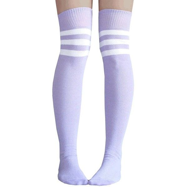 Chrissy's Socks Women's Lilac/White Thigh High Striped Tube Socks at... ($12) ❤ liked on Polyvore featuring intimates, hosiery, socks, accessories, tights, lilac socks, white hosiery, white tube socks, tube socks and thigh-high socks