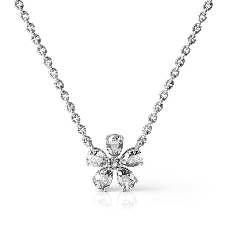 Magnolia flower fine jewellery necklace made from pink and white diamonds in white gold.