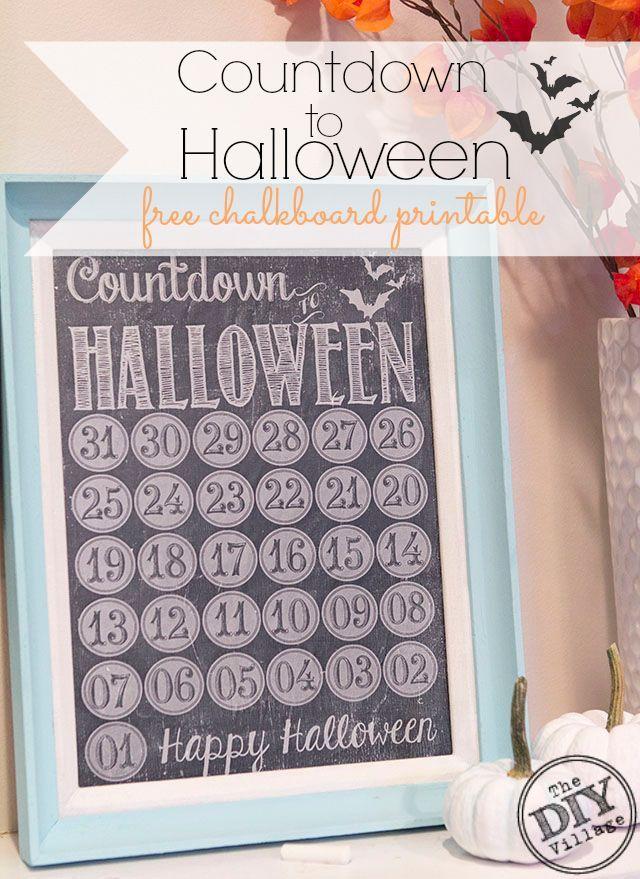 Adorable chalkboard printable to help the kiddos countdown to Halloween