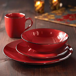 fun red dishes with black edging.  I wish I could have 5 sets of different kinds of dishes.