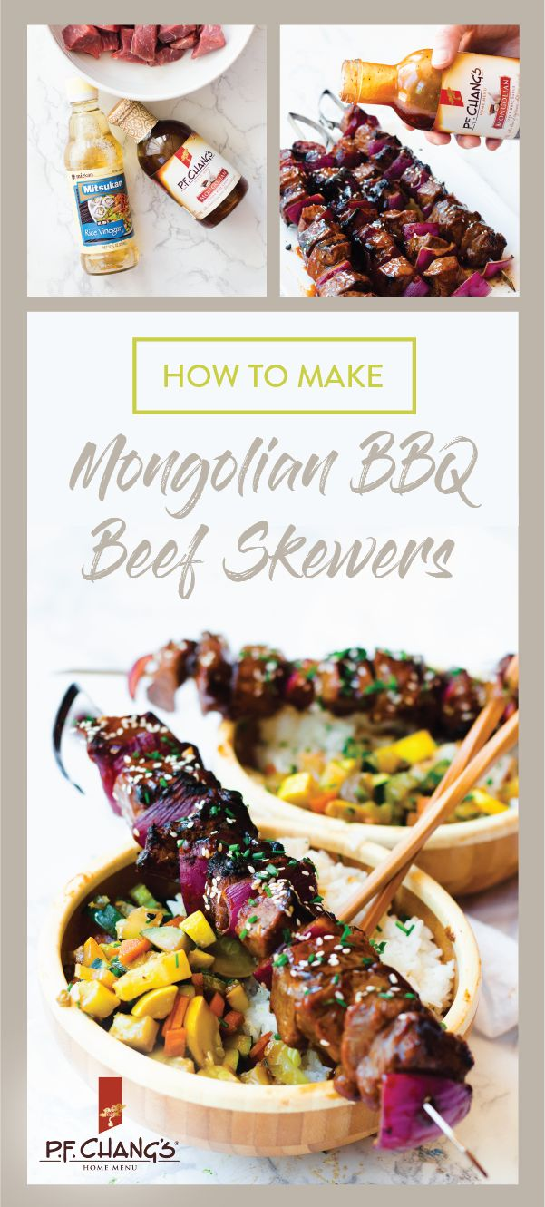 Serve up some tasty flavor on your dinner table with the help of P.F. Chang's® Home Menu Mongolian BBQ Style sauce and this recipe for ​Mongolian​ ​BBQ​ ​Beef​ Skewers. From the seasoned sauce to the colorful fresh vegetables, this meal idea has everything you're looking for. Plus, you can find all the ingredients you need at Kroger or your local Kroger banner—what could be better than that?!