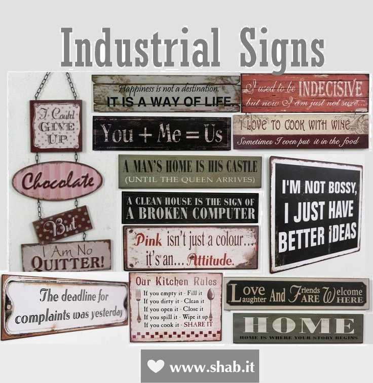 PAZZI PER LO STILE INDUSTRIAL...?!  Scopri su Shab.it tutti i NUOVI ARRIVI Industrial Shabby come le Insegne in Metallo e Legno.  http://www.shab.it/it/the-shop/nuovi-arrivi    P.s. PREZZO MEDIO €12,00    Shab | The Best Things in life aren't Things  www.shab.it