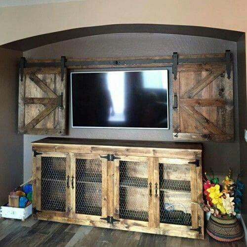 Here's an entertainment center idea if you have a flat screen on your wall! We like the chicken wire but you could also add glass!  -via Pinterest at Shanty-2-Chic.com